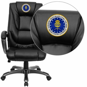 Flash Furniture Embroidered High Back Black Leather Executive Office Chair