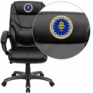 Flash Furniture Embroidered High Back Black Leather Overstuffed Executive Off