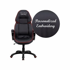 Flash Furniture Embroidered High Back Black Vinyl Executive Office