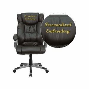 Flash Furniture Embroidered High Back Espresso Brown Leather Executive Office Chair