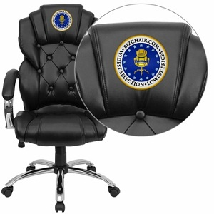 Flash Furniture Embroidered High Back Transitional Style Black Leather Executive Office Chair