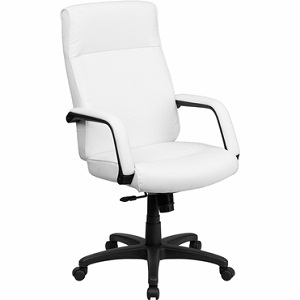 Flash Furniture High Back White Leather Executive Office Chair With