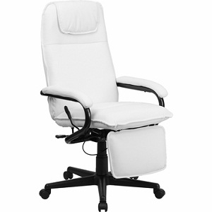 furniture high back white leather executive reclining office chair