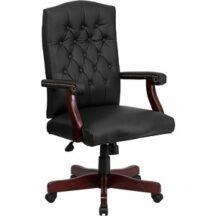 Flash Furniture Martha Washington Black Leather Executive Swivel Chair