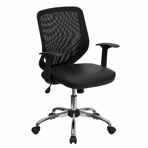 flash furniture mid back black office chair with mesh back and italian