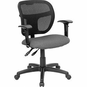 flash furniture mid back mesh task chair with gray fabric seat with