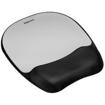 Fellowes Memory foam Mouse Pad Wrist Rest- Silver Streak