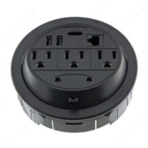 Richelieu Ergonomics Round Power Station with 3 Outlets & 2 USB Ports