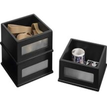 Victor Tech 84015 Midnight Black Desktop Supply Stackers 3 PacK