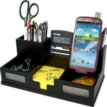 Victor Tech 95255 Midnight Black Desk Organizer with Smart Phone Holder