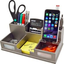 Victor Tech S9525 Classic Silver Desk Organizer with Smart Phone Holder