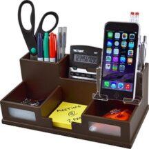 Victor Tech B9525 Mocha Brown Desk Organizer with Smart Phone Holder
