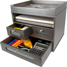 Victor Tech S5500 Classic Silver Tidy Tower Wood Desk Accessories