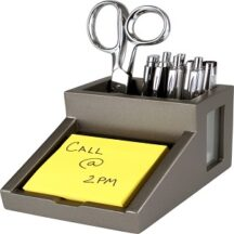 Victor Tech S9505 Classic Silver Pencil Cup with Note Holder
