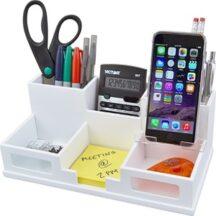 Victor Tech W9525 Pure White Desk Organizer with Smart Phone Holder