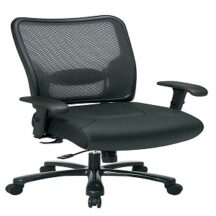 Office Star 75-47A773 Double Dark Air Grid Back and Layered Leather Seat Ergonomic Chair
