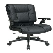 Office Star 9333 Deluxe Black Top Grain Leather Conference Chair
